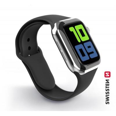 Swissten Apple Watch szilikon szíj, 38-40 mm - Fekete