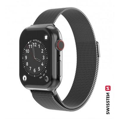 Swissten Apple Watch milánói szíj, 38-40 mm - Fekete