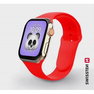 Swissten Apple Watch szilikon szíj, 38-40 mm - Piros