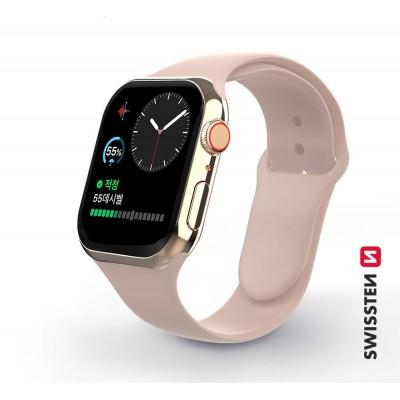Swissten Apple Watch szilikon szíj, 38-40 mm - Rózsaszín homok