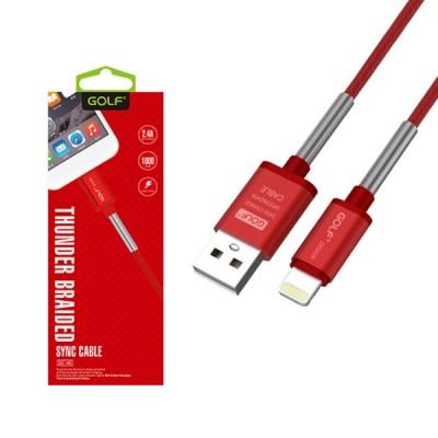 GOLF iPhone lightning adat/töltőkábel rugós védelem 2,4A 'GC-40i' – Piros