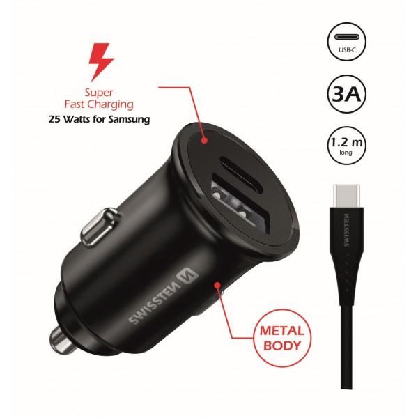Swissten autós töltő Samsung Super Fast Charging 25W + 1,2 m fekete USB-C/USB-C adatkábel