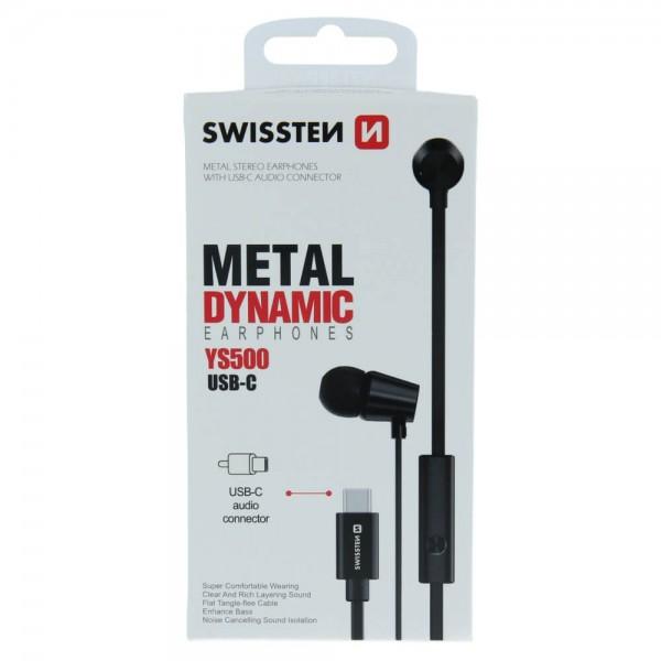 Swissten Dynamic YS500 fekete fülhallgató Type-C csatlakozóval