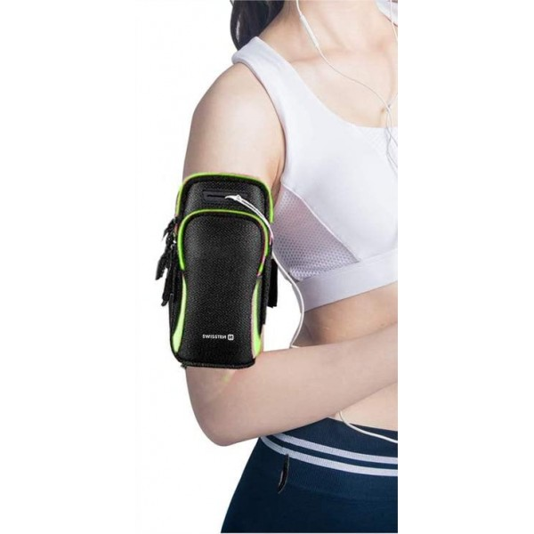 Swissten karra csatolható telefontartó táska sportoláshoz, fekete