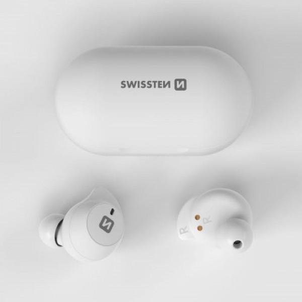 Swissten Stonebuds TWS bluetooth fülhallgató, fehér