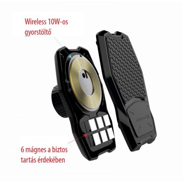 Swissten mágneses autós tartó és QI töltő műszerfalra, WM1-HK2