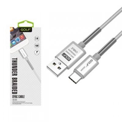 Golf Thunder Braided USB C adat/töltő kábel ezüst