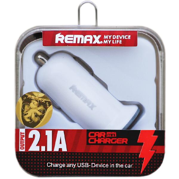 Remax autós töltő 2xUSB 2.1A fehér
